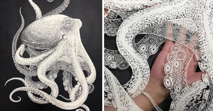 Artista giapponese intaglia un intricato polpo da un singolo foglio di carta