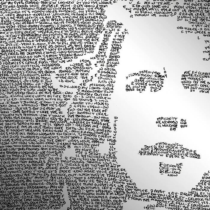 Poster ritratti fatti con testi scritti a mano, Mike Matola