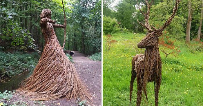 Magiche sculture realizzate con ramoscelli intrecciati popolano la foresta
