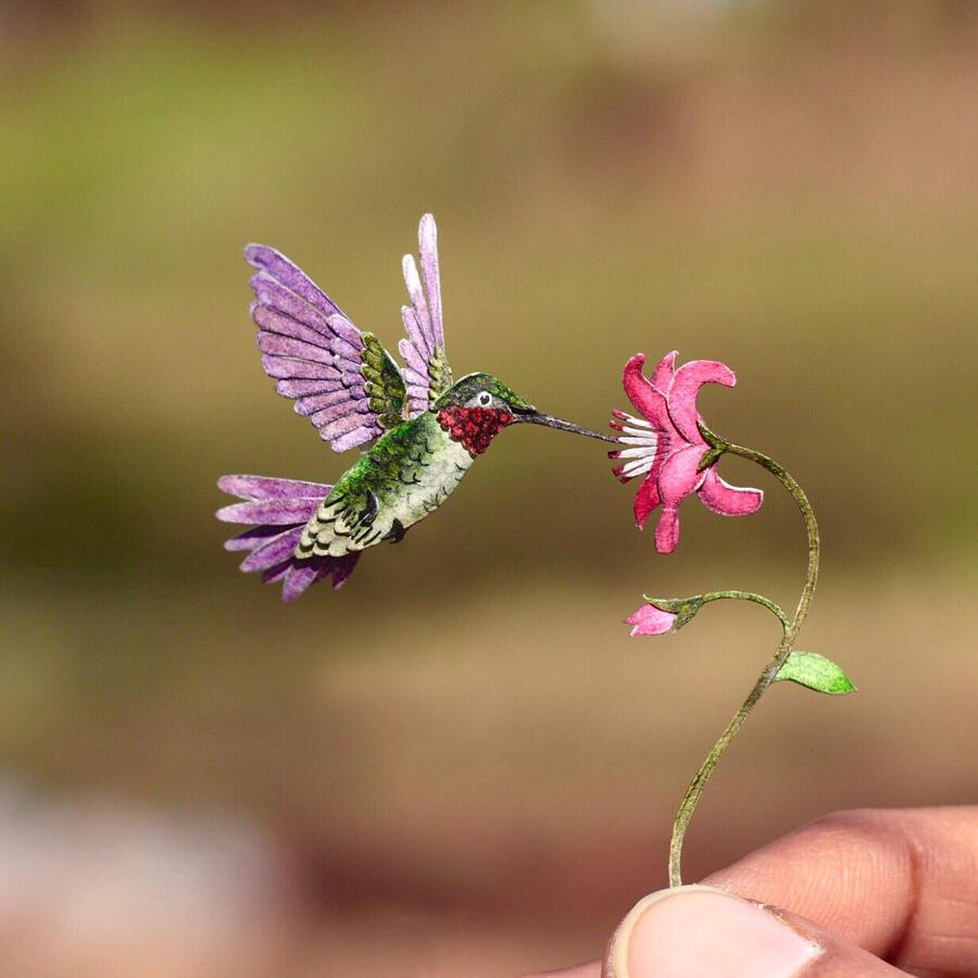 Uccelli in miniatura di carta realistici, di Nayan & Vaishali