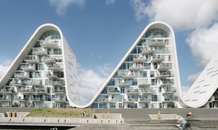 Onde fatte di appartamenti dell'architetto Henning Larsen inaugurati in Danimarca