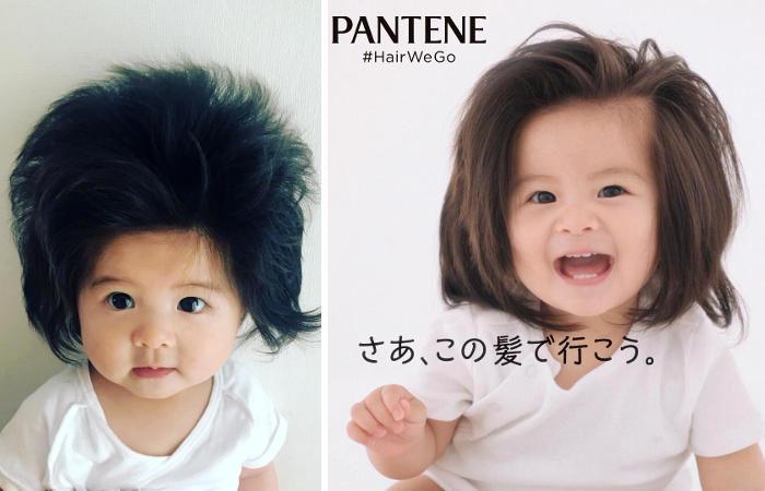Ricordate la bambina giapponese nata con i capelli lunghi e foltissimi? È la nuova testimonial Pantene