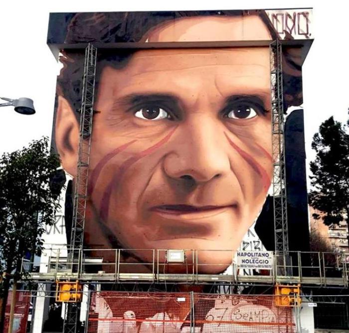 Murale Pier Paolo Pasolini a Scampia, Napoli, di Jorit