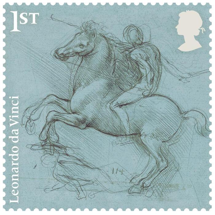 Serie francobolli con disegni di Leonardo da Vinci della Royal Mail in UK