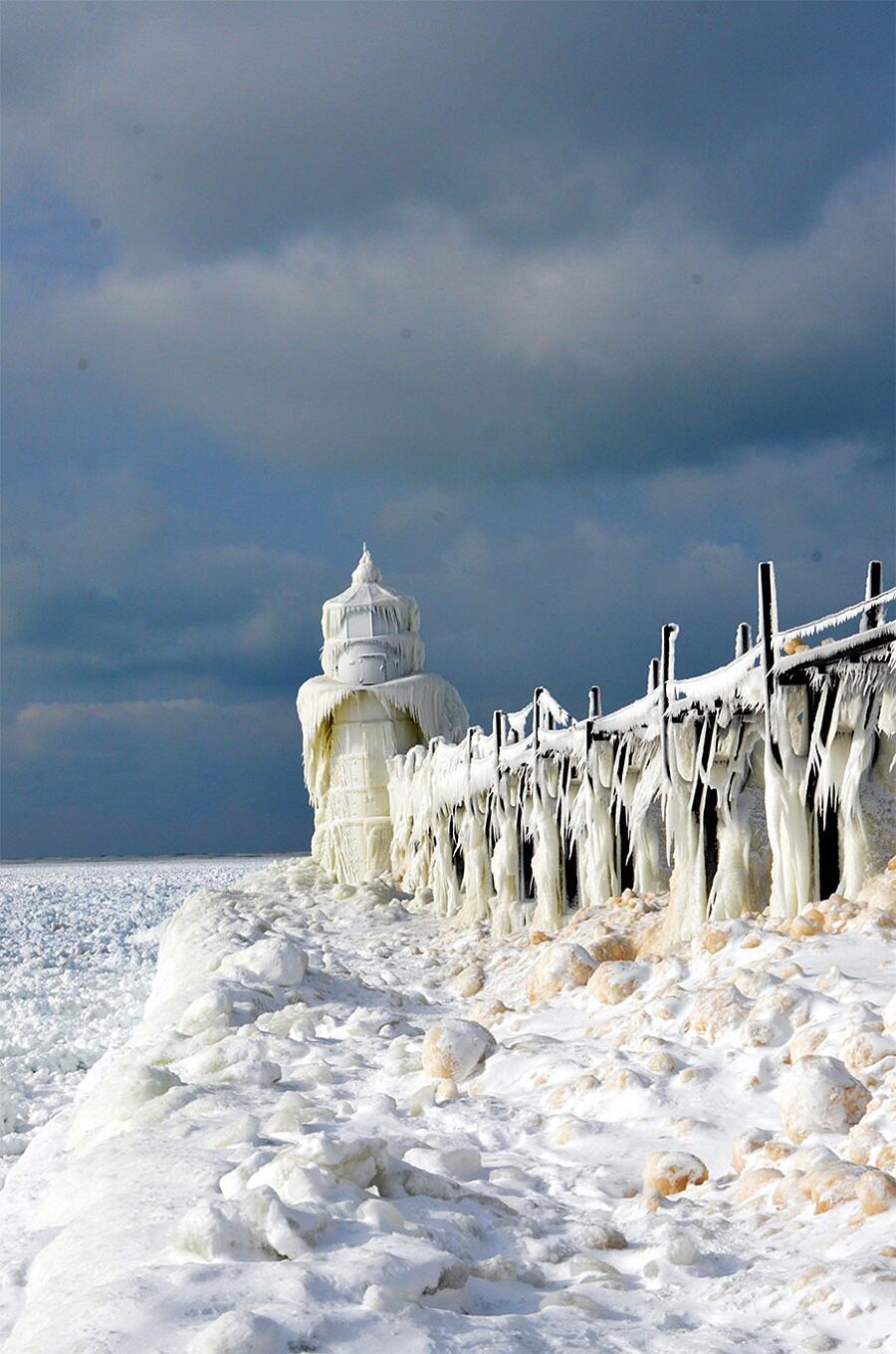 Lago Michigan Ghiaccio Frantumato Stati Uniti