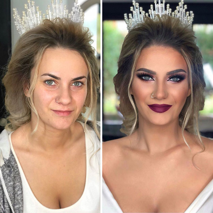 Foto di spose prima e dopo il make-up