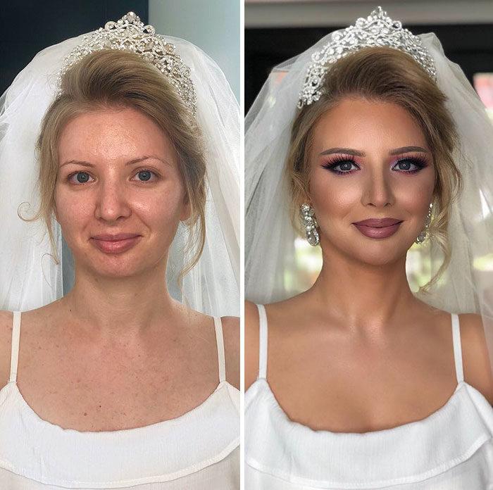 11 foto scattate prima e dopo il make-up della sposa mostrano come il  trucco trasforma un volto f8e2e4baaa63