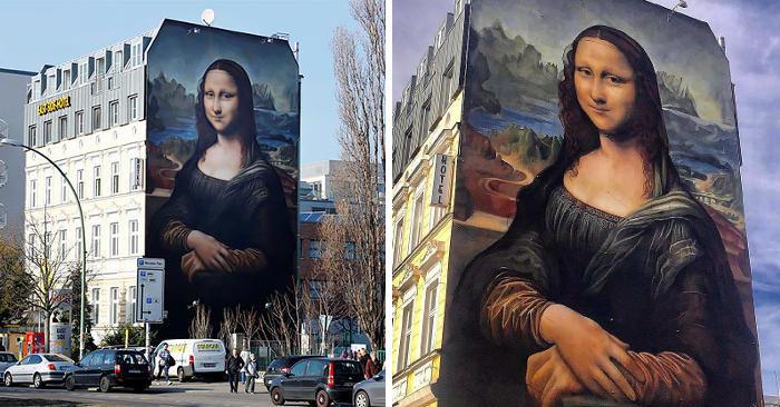 Street Art: la più grande riproduzione della Gioconda scomparsa a Berlino