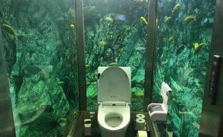 Una toilette immersa in un acquario di un locale in Giappone