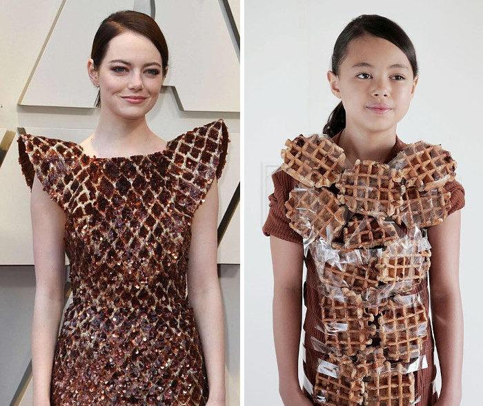 Una bambina di 9 anni ricrea in modo fantasioso abiti ridicoli di celebrità