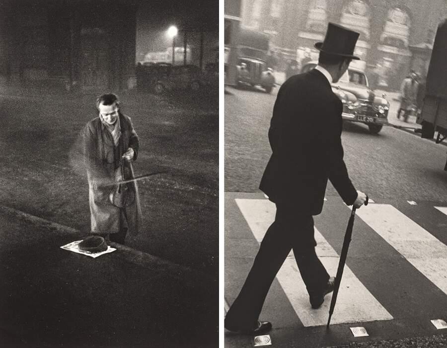 Foto in bianco e nero di Londra nei primi anni '50, Robert Frank