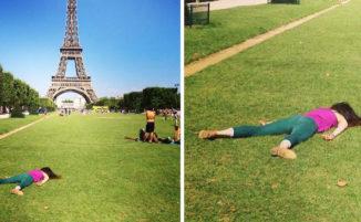 """Invece di fare classici selfie, questa donna """"muore"""" nei luoghi più famosi del mondo"""