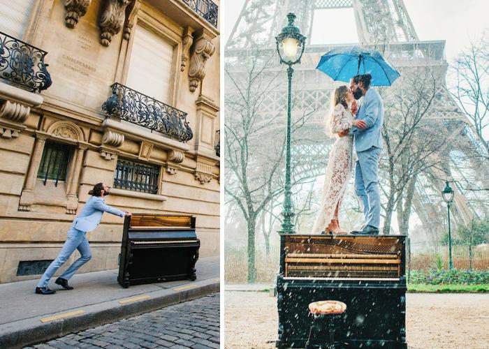 Spinge un pianoforte per tutta Parigi il giorno delle nozze per fare una sorpresa alla futura moglie