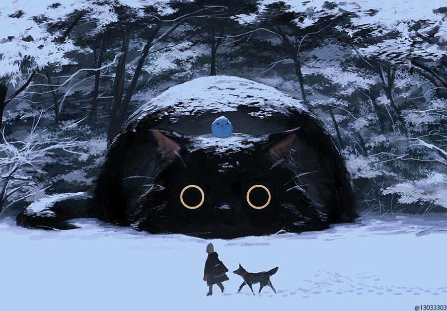 Illustrazioni Giapponesi Animali Giganti