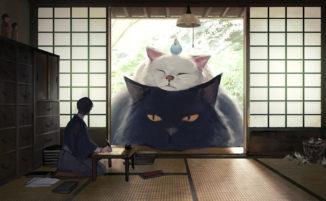 Illustratore giapponese immagina un mondo in cui gli umani vivono tra animali giganti