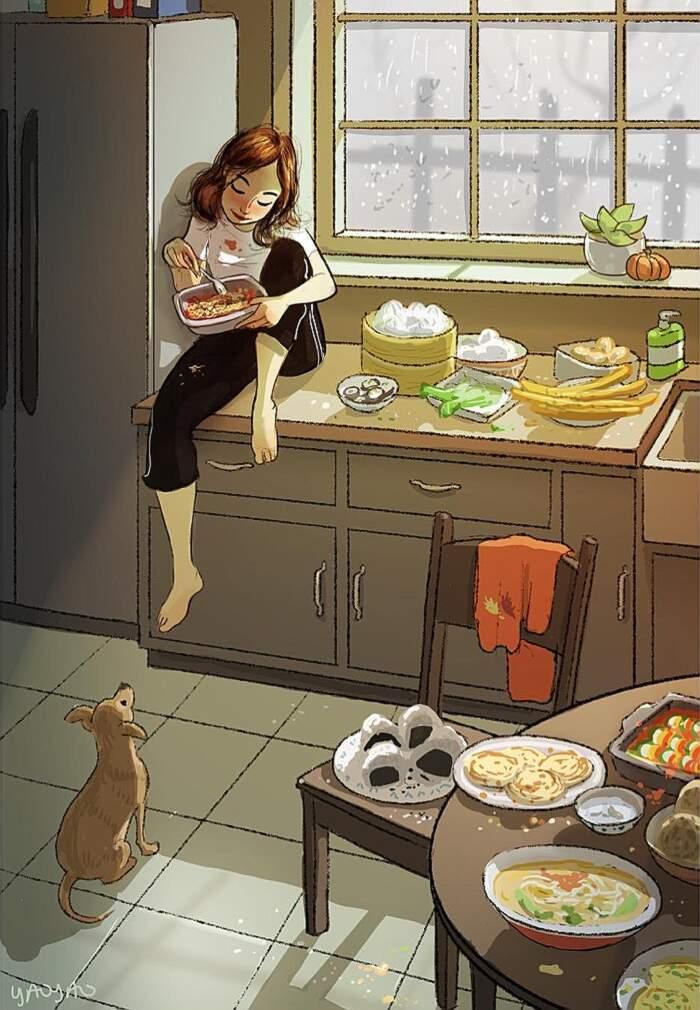 Illustrazioni ritraggono la gioia di vivere con un cane, Yaoyao