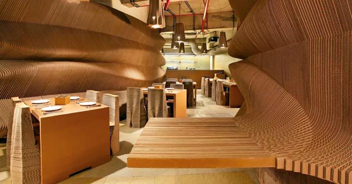 Locale arredi cartone ondulato cardboard bombay fb keblog for Arredi di cartone