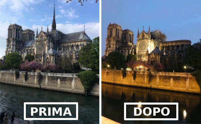 La cattedrale di Notre Dame a Parigi prima e dopo l'incendio