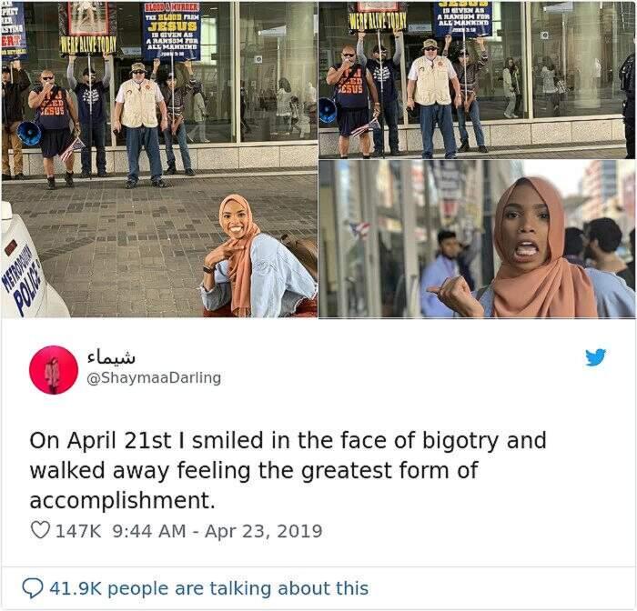 Questa donna musulmana ha risposto con il sorriso a dimostranti anti-Islam, Shaymaa Ismaa'eel