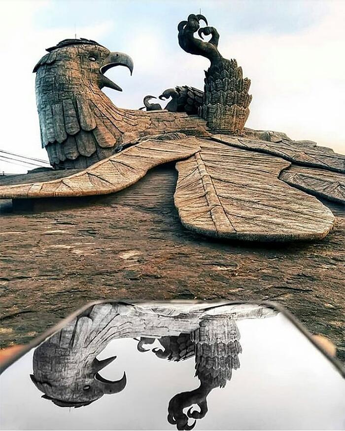 Scultura Uccello Gigante India Jatayupara Rajiv Anchal