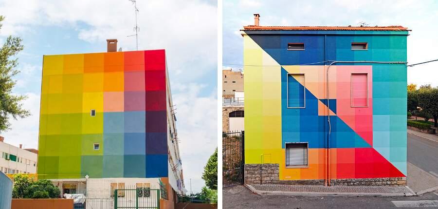 I prismatici murali colorati dello street artist italiano Alberonero