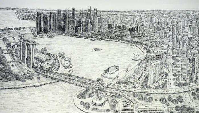 Artista autistico disegna accuratamente intere città a memoria, Stephen Wiltshire - Singapore