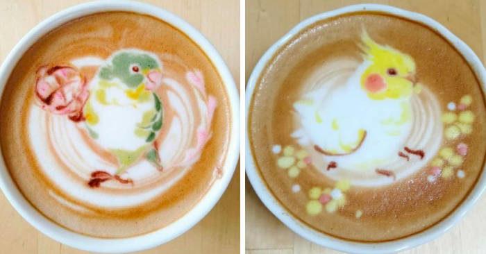 Artista decora cappuccini e latte macchiati con piccoli uccelli grazie alla sua latte art
