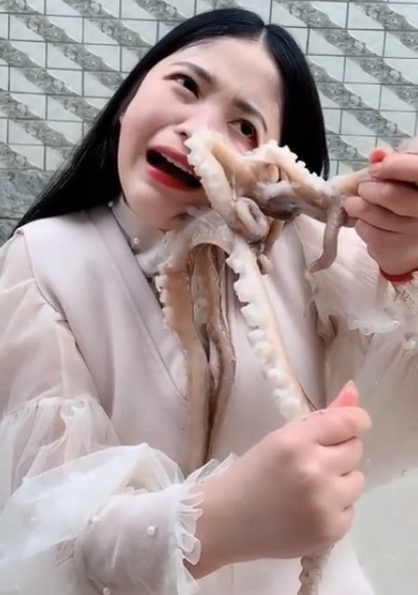 Polpo attacca una donna che voleva mangiarlo vivo