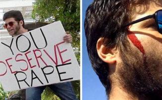 """Prete gira con cartello """"Meritate di essere stuprate"""" e viene colpito con una mazza da baseball"""