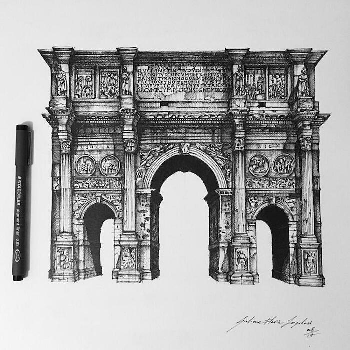 Schizzi Ad Inchiostro Monumenti Italiani Giuliana Flavia Cangelosi
