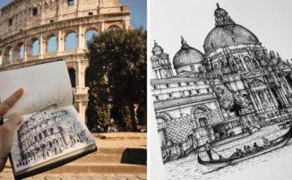 Schizzi ad inchiostro catturano i dettagli intricati dei monumenti italiani