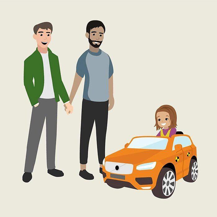 La Volvo illustra nuova policy sul congedo parentale mostrando genitori dello stesso sesso