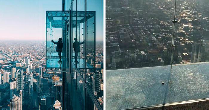 Una balconata di vetro al 103° piano si incrina sotto i piedi dei visitatori