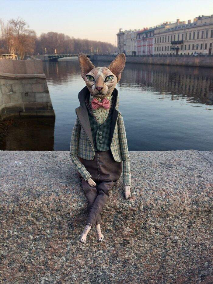 Realistiche bambole di gatti sphynx di Elena Alekhina