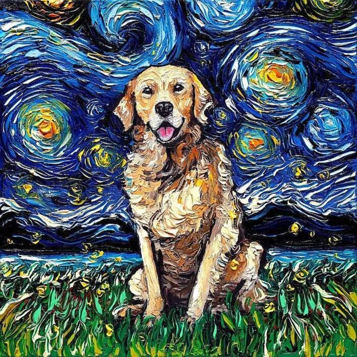Artista crea il ritratto del tuo cane su Notte Stellata di van Gogh