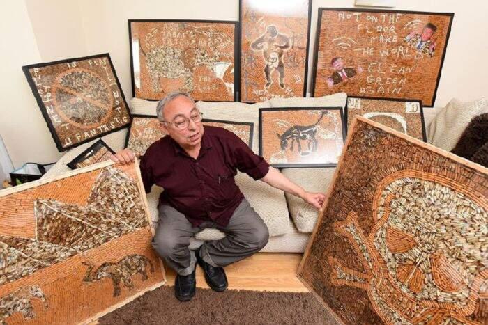 Pensionato raccoglie 120.000 mozziconi di sigaretta e ne crea dei quadri contro il fumo