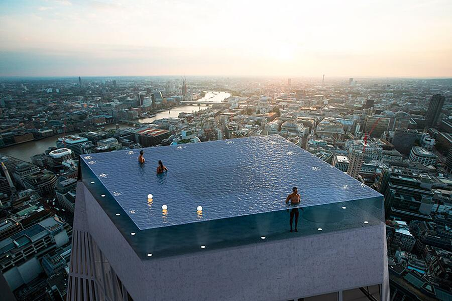 Piscina In Cima A Grattacielo Londra Compass Pools