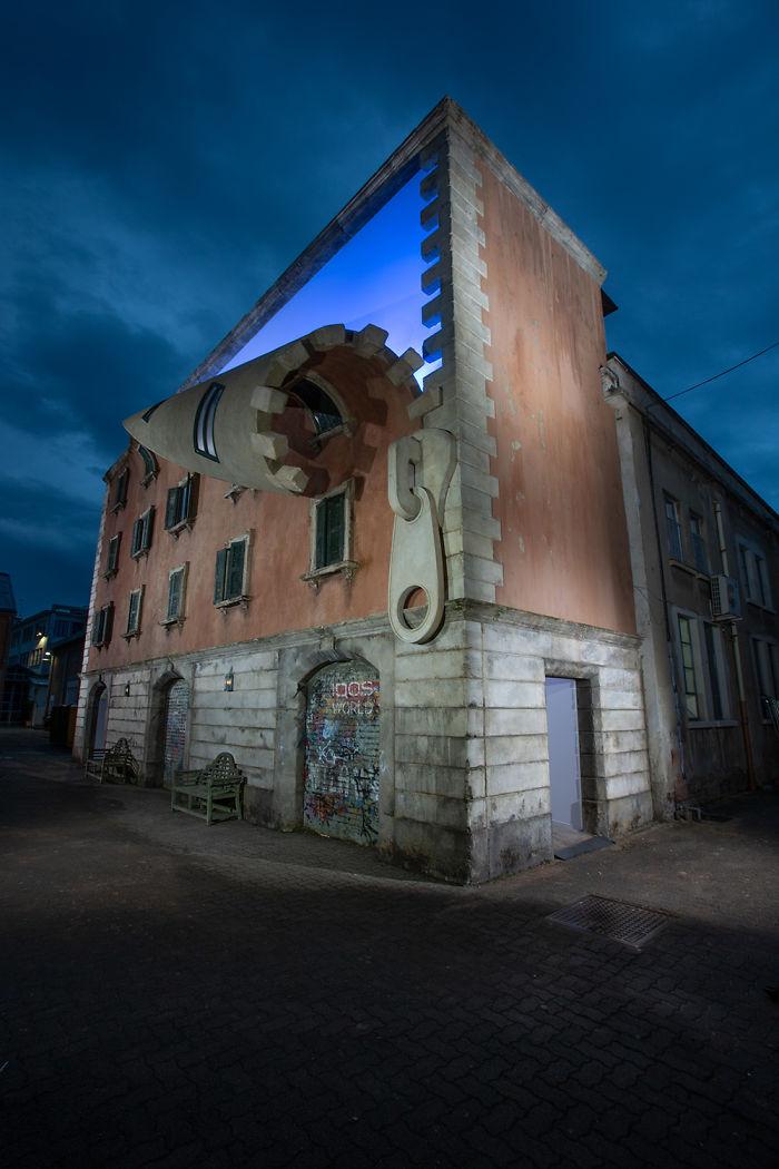 Una fusione tra street art e architettura negli edifici surreali di Alex Chinneck