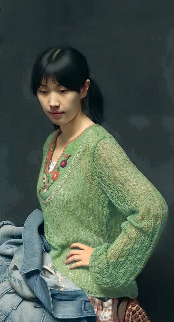 Ritratti di donne dipinti a olio arte iperrealista, Leng Jun