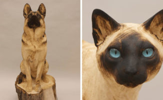 Artista trasforma tronchi in sculture realistiche di animali