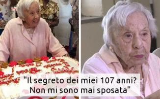 """Al suo 107° compleanno le chiedono il segreto della longevità: """"Non sposatevi"""""""