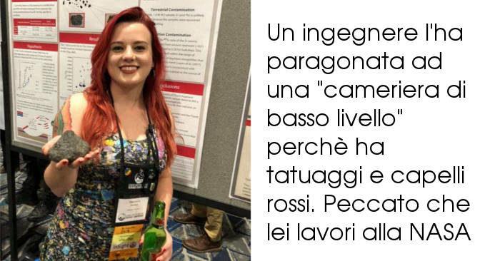 Scienziata viene definita non professionale perché ha tatuaggi e capelli rossi