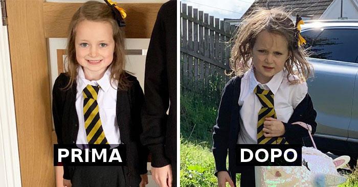 27 foto divertenti di bambini prima e dopo il loro primo giorno di scuola