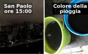 Le foto apocalittiche di San Paolo completamente oscurata a causa degli incendi nella Foresta Amazzonica
