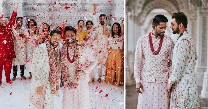 Coppia gay indiana si sposa in un tempio Indù con cerimonia religiosa e le foto diventano virali