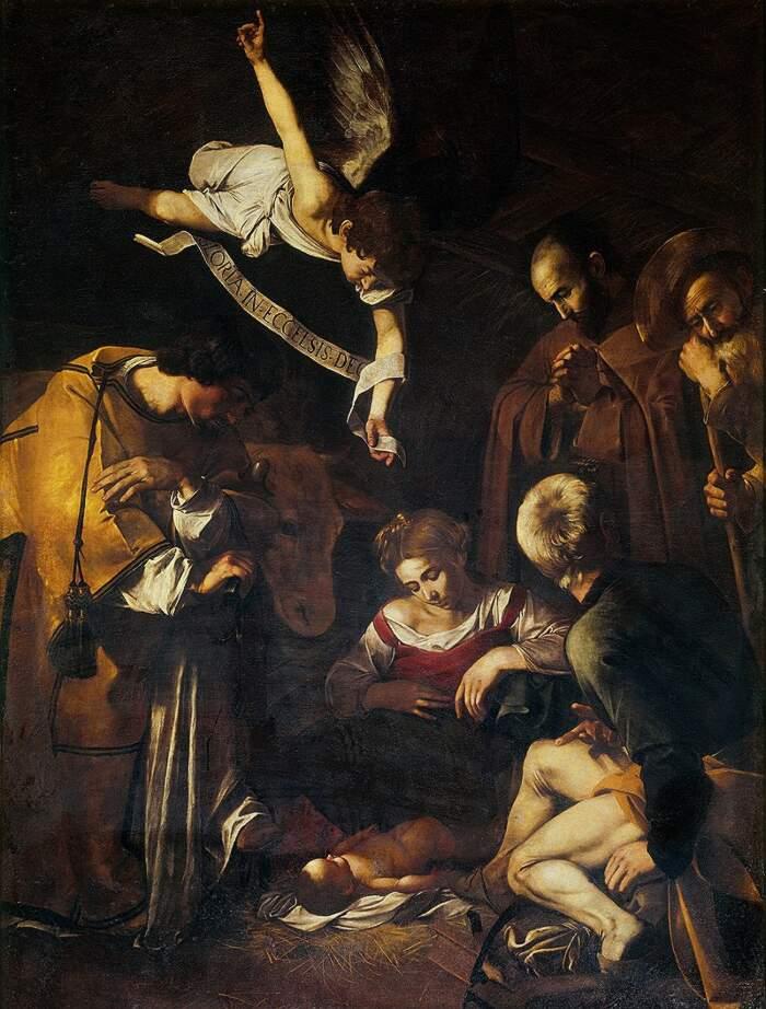 Famose opere d'arte rubate e mai ritrovate - Natività con i santi Lorenzo e Francesco d'Assisi (1600), Caravaggio, olio su tela