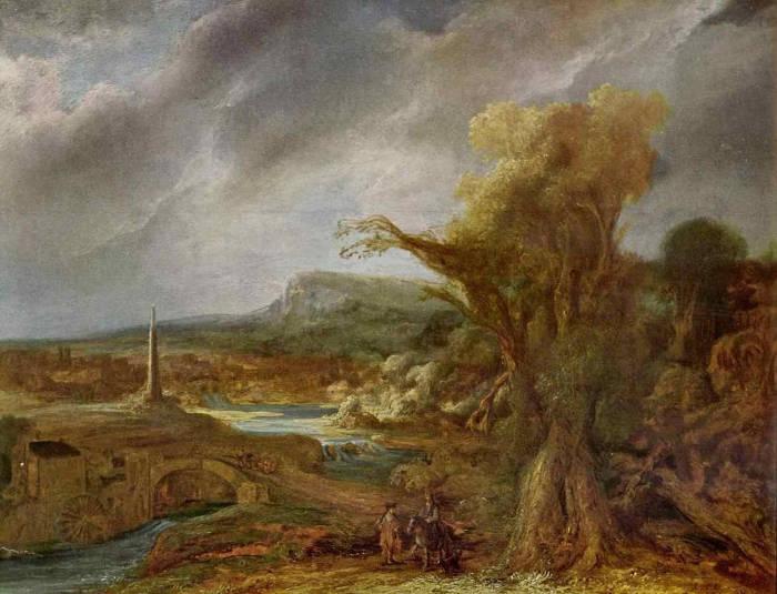 Famose opere d'arte rubate e mai ritrovate - Panorama con Obelisco (1638), Govert Flinck, olio su tavola