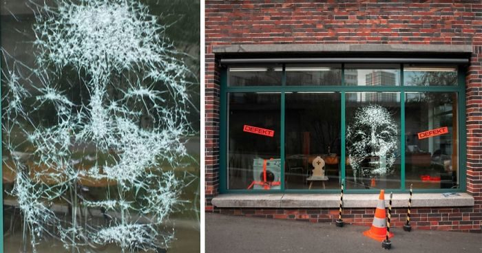 Un vandalo crepa la tua vetrina? Questo artista continua a incrinarla fino a creare un'opera d'arte