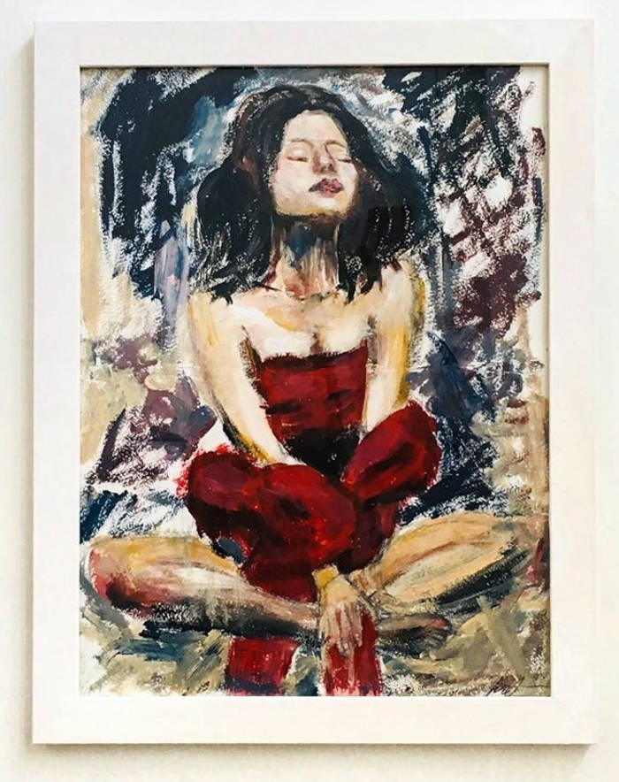 Artista autodidatta dipinge con il seno al posto dei pennelli, Nadia Matievskaia