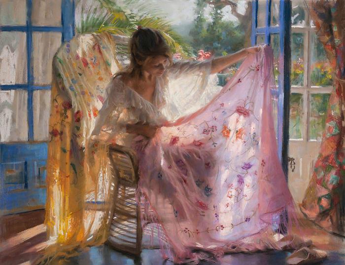 Delicati dipinti di giovani donne sensuali